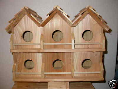 Wood 6 Room Deluxe Purple Martin Bird House (Cedar) FREE SHIPPING HANDMADE