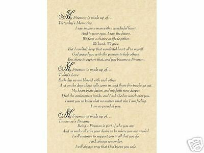 Fireman From Wife Poem Personalize Gift Firefighter