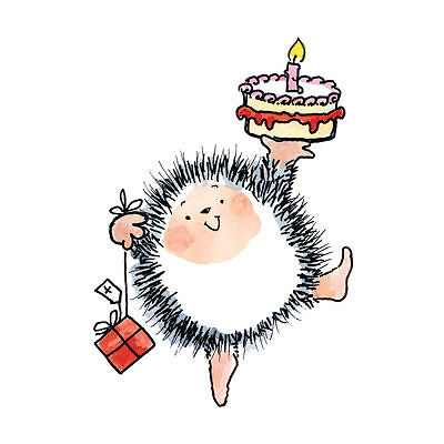 YOUR BIRTHDAY Penny Black Mounted Rubber Stamp Hedgehog
