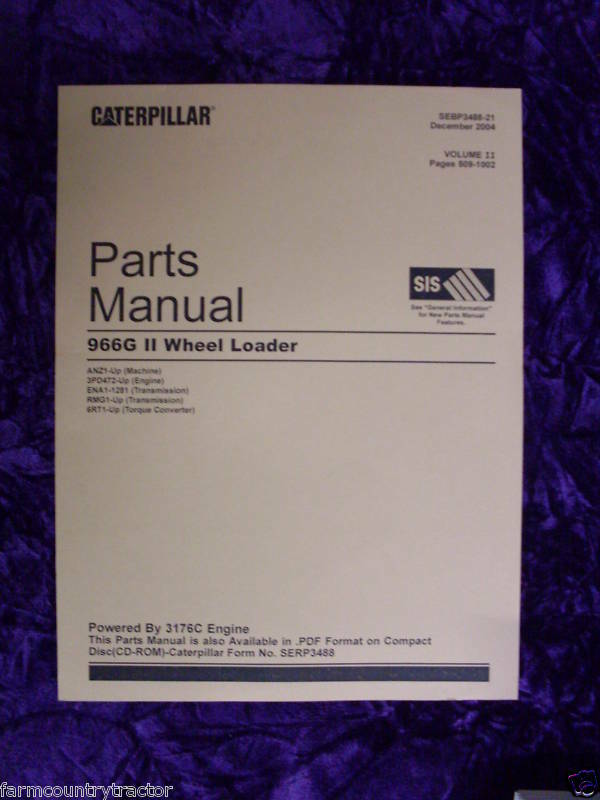 Caterpillar 966G II Wheel Loader Parts Manual
