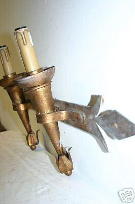 An Old Gilt Wrought Iron 2 light  Wall Lamp 5