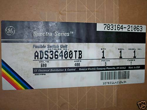 Ge Ads36400tb 400a 600v 3ph Fusible Panelboard Switch