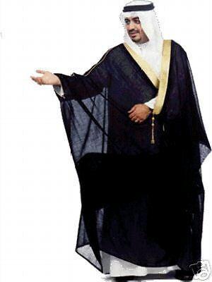BLACK BISHT CLOAK ARAB DRESS THOBE ISLAM MENS ROBE EID KAFTAN JACKET WEDDING NEW